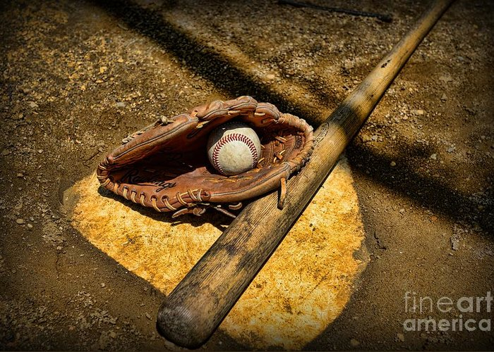 Paul Ward Greeting Card featuring the photograph Baseball Home Plate by Paul Ward
