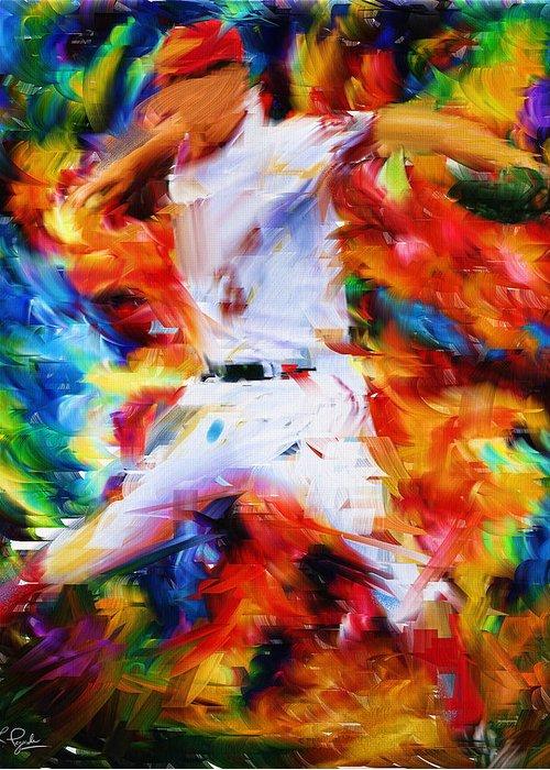 Baseball Greeting Card featuring the digital art Baseball I by Lourry Legarde