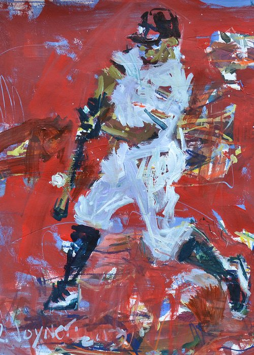 Art Greeting Card featuring the mixed media Baseball Painting by Robert Joyner