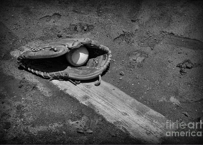 Paul Ward Greeting Card featuring the photograph Baseball Pitchers Mound In Black And White by Paul Ward