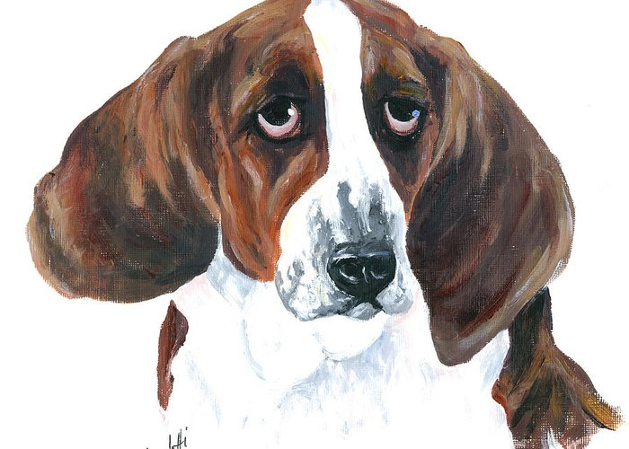 Basset Hound Greeting Card featuring the painting Basset Hound Portrait by Barb Capeletti