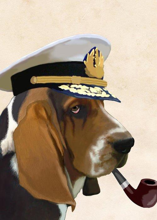 Dog Framed Prints Greeting Card featuring the digital art Basset Hound Seadog by Kelly McLaughlan