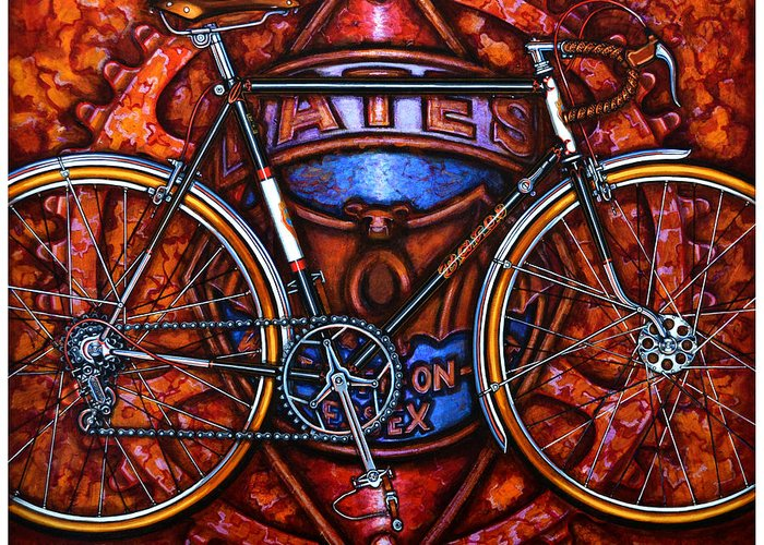 Bicycle Greeting Card featuring the painting Bates Bicycle by Mark Howard Jones