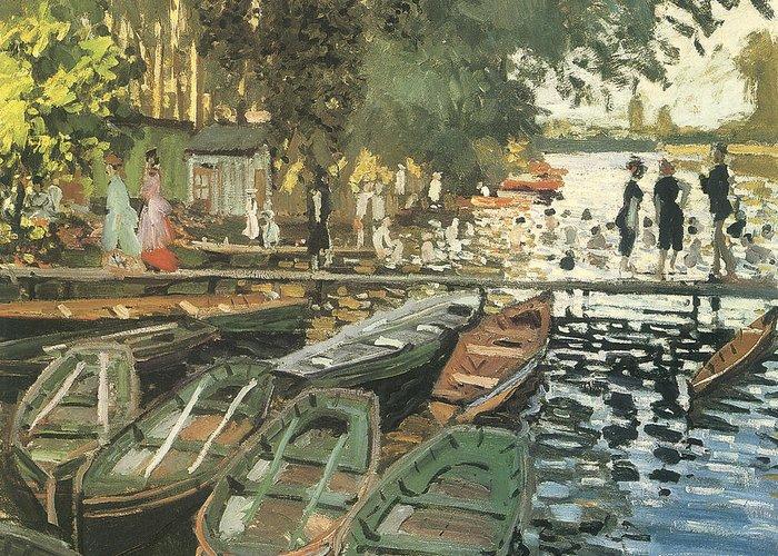 Bathers At La Crenovillere Greeting Card featuring the painting Bathers At La Crenovillere by Claude Monet
