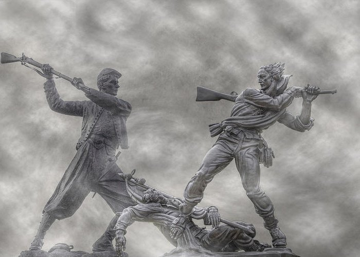 Blue And The Gray Greeting Card featuring the photograph Battle Of Gettysburg 150 Blue And The Gray by Randy Steele