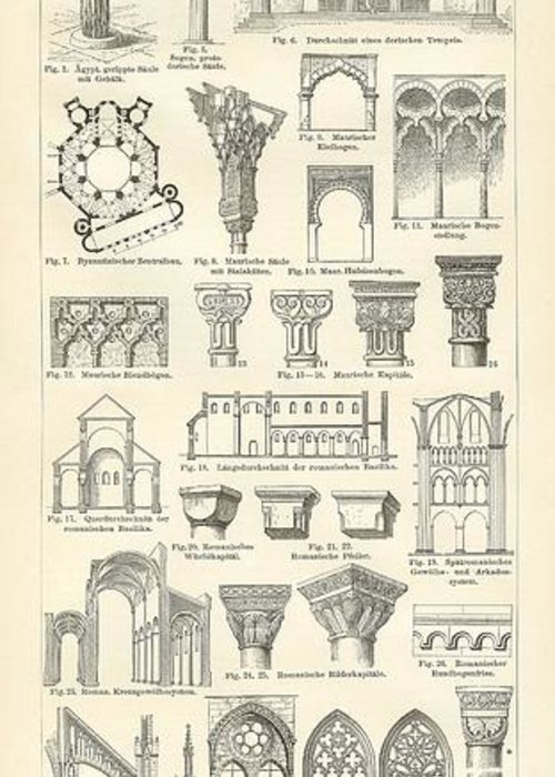 Architecture Greeting Card featuring the drawing Baustile I And Baustile II by German School