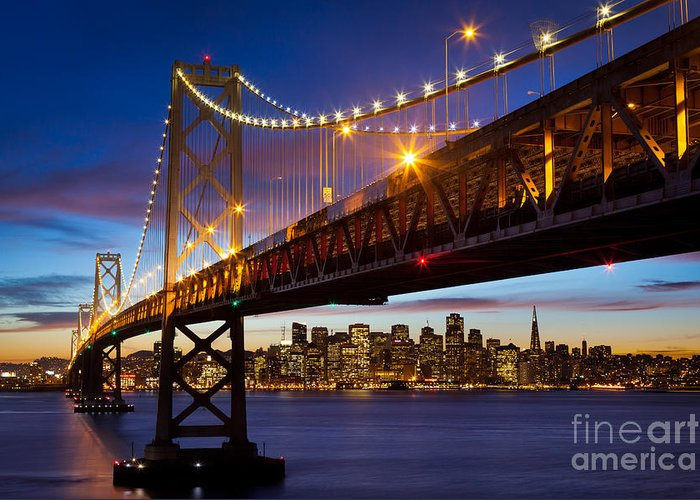 America Greeting Card featuring the photograph Bay Bridge by Inge Johnsson