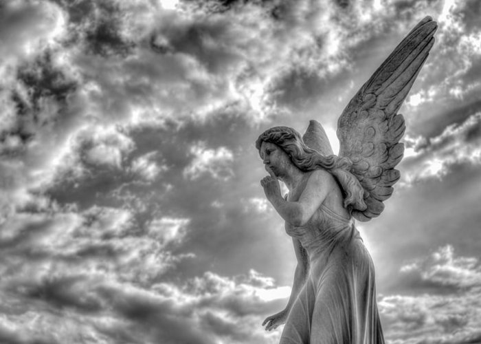 Angel Greeting Card featuring the photograph Be Silent by Andres Leon