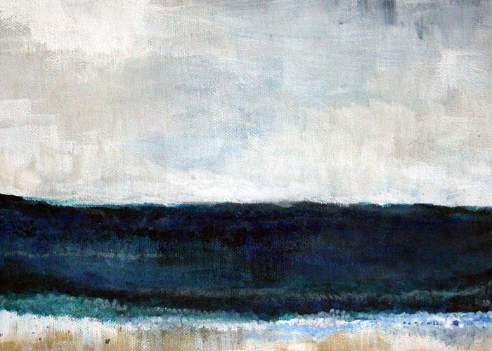 Beach Greeting Card featuring the painting Beach- Abstract Painting by Linda Woods