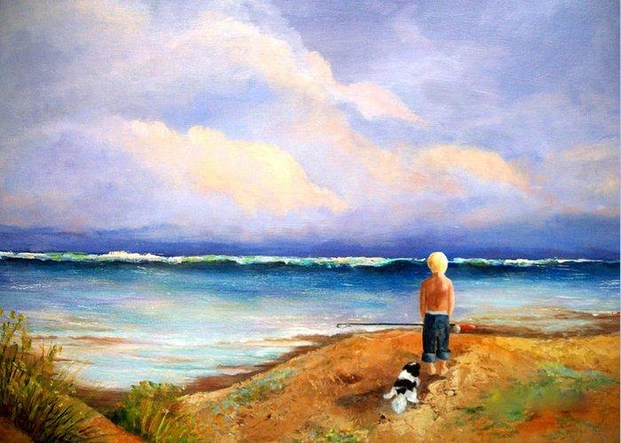 Ocean Greeting Card featuring the painting Beach Buddies by Susan M Fleischer