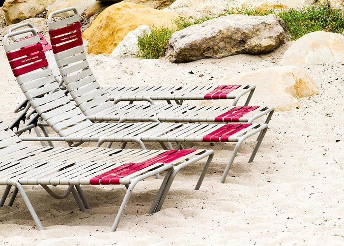 Beach Greeting Card featuring the photograph Beach Chairs by Bernard Barcos