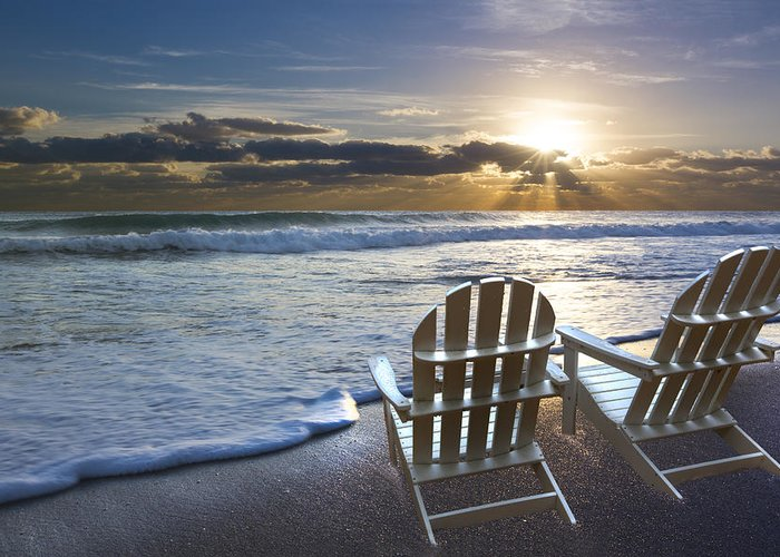 Clouds Greeting Card featuring the photograph Beach Chairs by Debra and Dave Vanderlaan