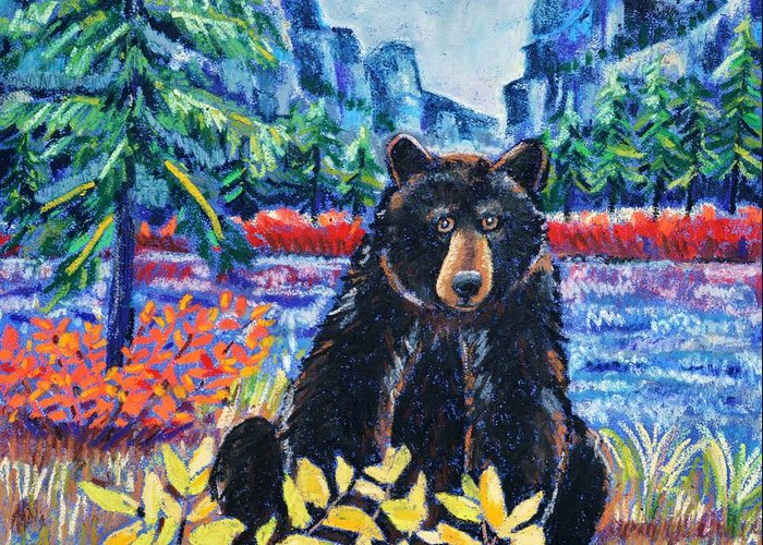 Bear Greeting Card featuring the pastel Bear By The Lake by Harriet Peck Taylor