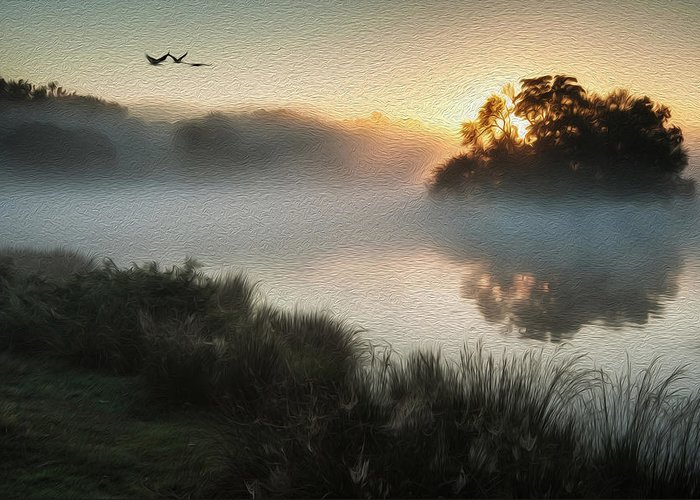 Landscape Greeting Card featuring the photograph Beautiful Autumnal Landscape Image Of Birds Flying Over Misty Lake Digital Painting by Matthew Gibson