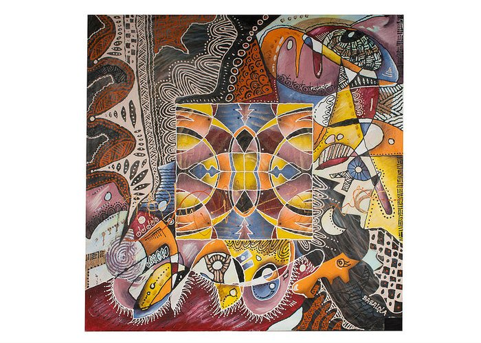 Art Abstract Painting Decoration Mixed Media Mural Design Interior Oilpaint Canvas Artist Evening Occasion Blue Sky Cheap Art Not Expensive Price Online Art European Art Europe E-shop Artshop Brown Paint Green Red Orange Black Leather Logo Authentic Special Strange Textile Design Eyecatcher Original Colorfull Red Brown Black Blue Yellow Pink White Organge Greeting Card featuring the painting Beautiful Bride by Richard Babalola