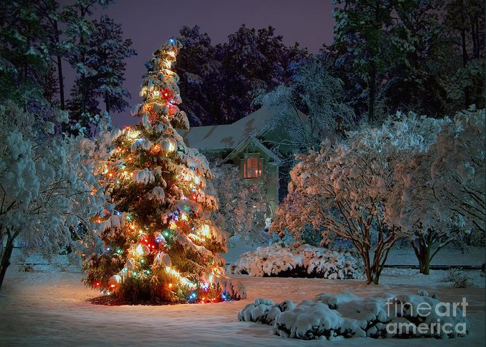 Beautiful Greeting Card featuring the photograph Beautiful Christmas Tree Lights by Boon Mee