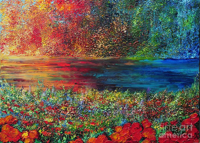 Abstract Greeting Card featuring the painting Beautiful Day by Teresa Wegrzyn