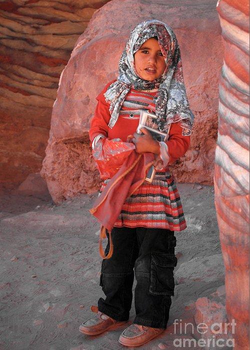 Girl Greeting Card featuring the digital art Beautiful Girl At Petra Jordan by Eva Kaufman