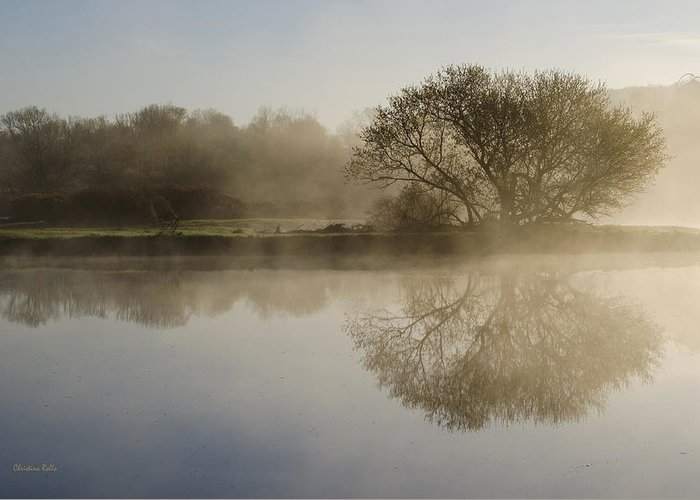 Sunrise Greeting Card featuring the photograph Beautiful Misty River Sunrise by Christina Rollo