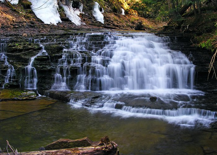 Background Greeting Card featuring the photograph Beautiful Waterfalls by Sheila Savage