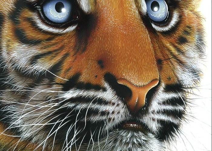 Tiger Greeting Card featuring the painting Beauty Of My Mother's Eyes by Jurek Zamoyski