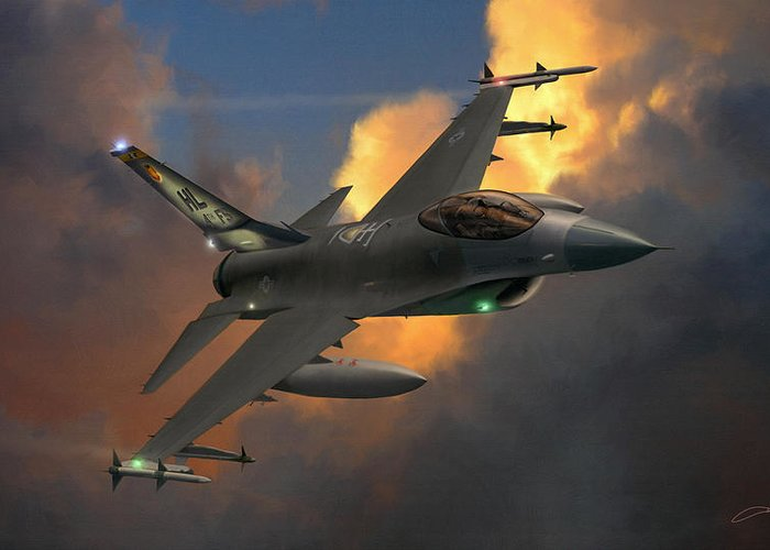 F-16 Greeting Card featuring the digital art Beauty Pass by Dale Jackson