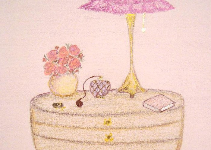 Bed Greeting Card featuring the drawing Bedside Table by Christine Corretti