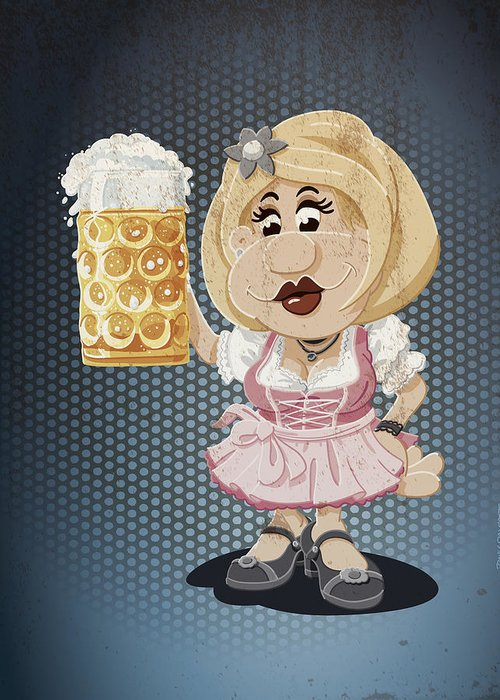Frank Ramspott Greeting Card featuring the drawing Beer Stein Dirndl Oktoberfest Cartoon Woman Grunge Color by Frank Ramspott