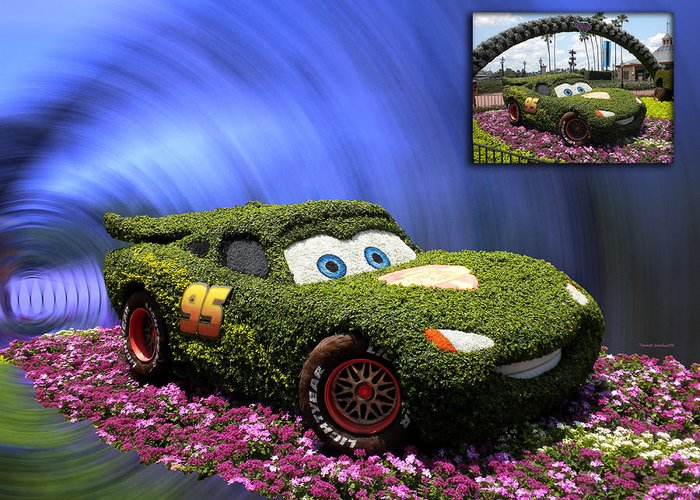 Cars 2 Greeting Card featuring the photograph Before And After Sample Art 29 Floral Lightning Mcqueen by Thomas Woolworth