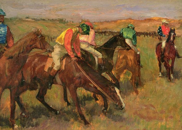 Before The Races Greeting Card featuring the painting Before The Races by Edgar Degas