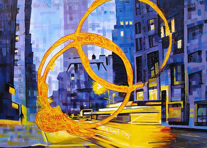 Dave Matthews Greeting Card featuring the painting Before These Crowded Streets by Joshua Morton