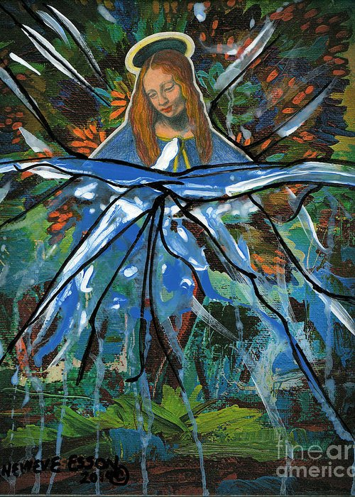 Mary Greeting Card featuring the painting Before We Drain In The Snow by Genevieve Esson