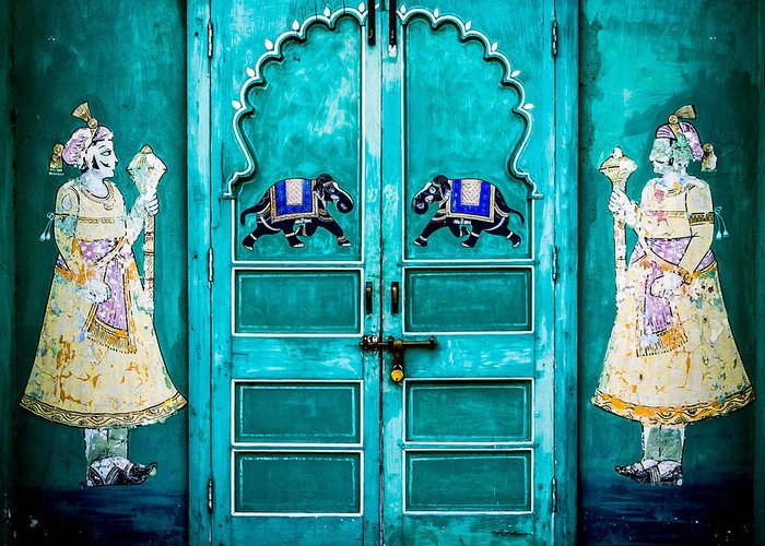 India Greeting Card featuring the photograph Behind The Green Door by Catherine Arnas