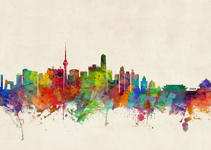 Beijing Greeting Card featuring the digital art Beijing China Skyline by Michael Tompsett