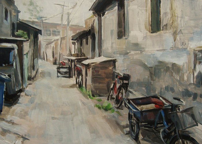 Beijing Hutong Greeting Card featuring the painting Beijing Hutong by Annie Salness