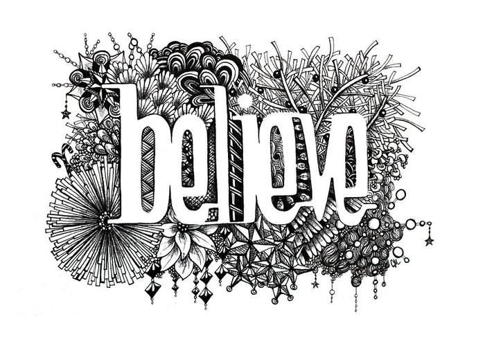 Zentangle Greeting Card featuring the drawing Believe by Christina Meeusen