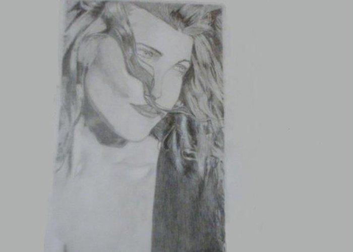 Belinda Greeting Card featuring the drawing Belinda Carlisle by Gina Nuttall