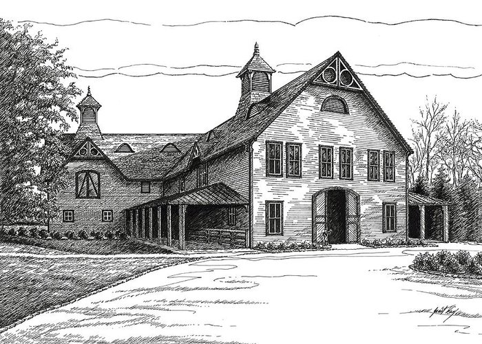 Belle Meade Plantation Greeting Card featuring the drawing Belle Meade Plantation Carriage House by Janet King