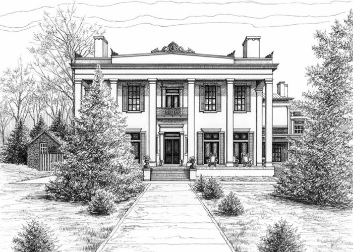 Pen Greeting Card featuring the drawing Belle Meade Plantation by Janet King
