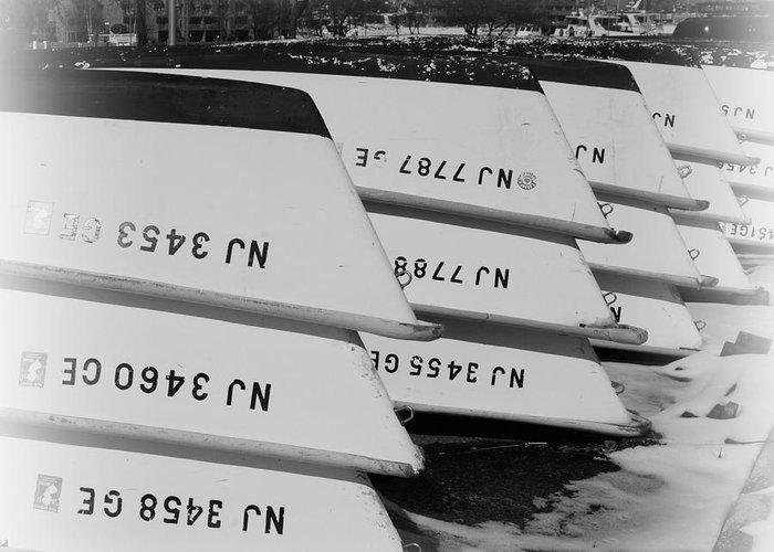 Paul Ward Greeting Card featuring the photograph Belmar Marina Rowboats by Paul Ward