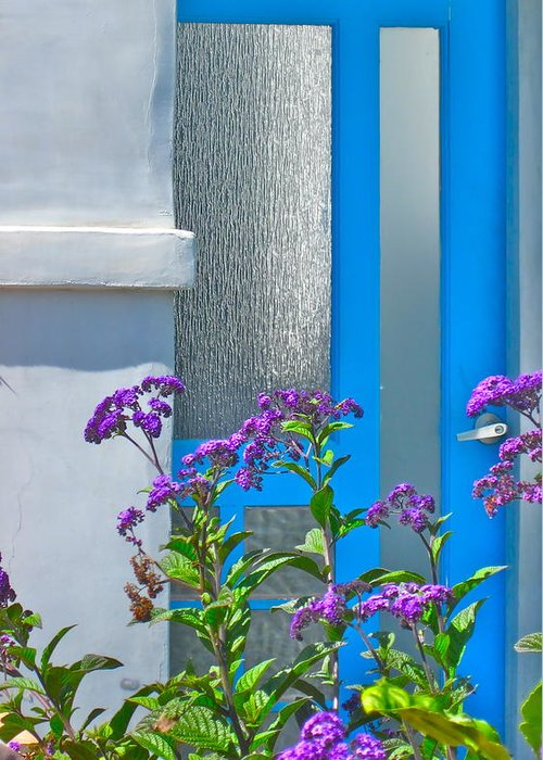 Photograph Of Door Greeting Card featuring the photograph Belmont Shore Blue by Gwyn Newcombe