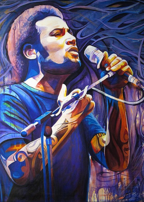 Ben Harper Greeting Card featuring the painting Ben Harper And Mic by Joshua Morton