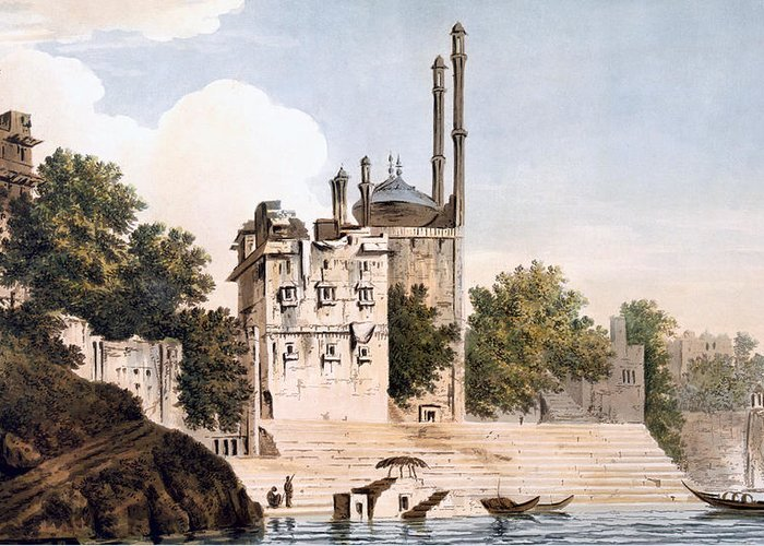 Benares Greeting Card featuring the painting Benares On The Ganges by William Hodges