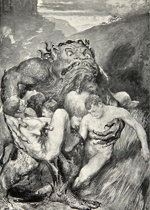 Beowulf Greeting Card featuring the drawing Beowulf Print by John Henry Frederick Bacon