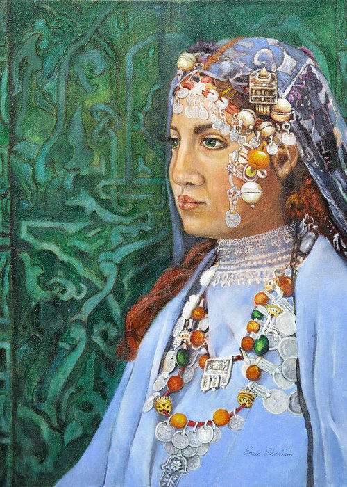 Berber Woman Greeting Card featuring the painting Berber Woman by Enzie Shahmiri