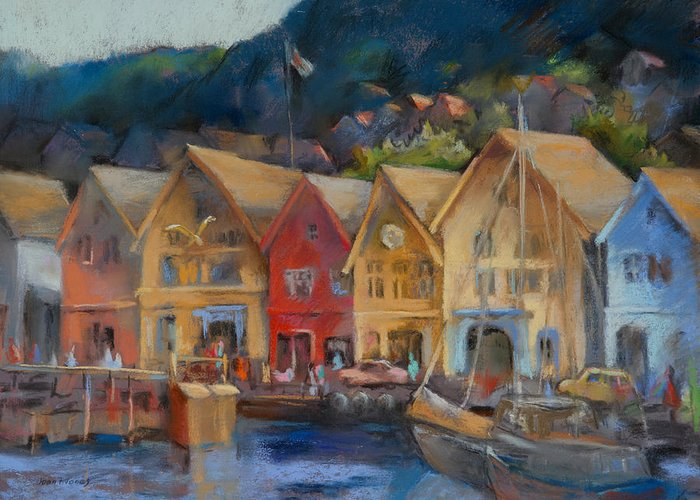 Bergen Norway Greeting Card featuring the painting Bergen Bryggen In The Early Morning by Joan Jones