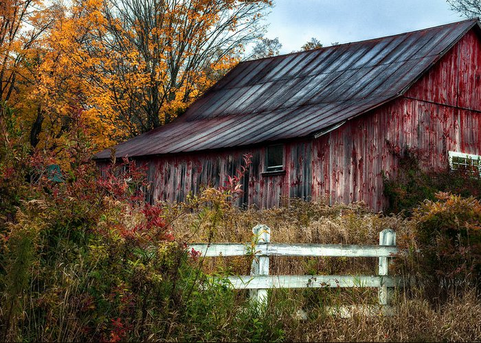 Barn Greeting Card featuring the photograph Berkshire Autumn - Old Barn Series  by Thomas Schoeller