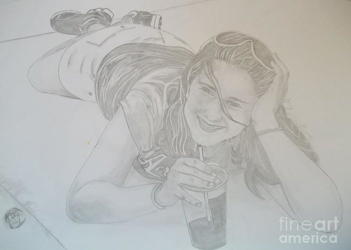 Justin Moore Greeting Card featuring the drawing Bethany by Justin Moore