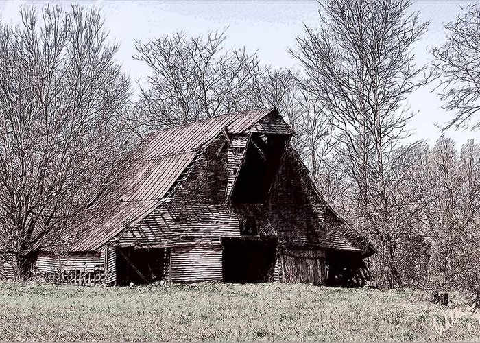 Barn Greeting Card featuring the drawing Better Days by Bonnie Willis