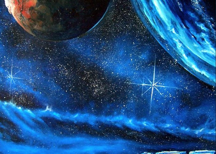 Cosmic Greeting Card featuring the painting Between Alien Worlds by Murphy Elliott